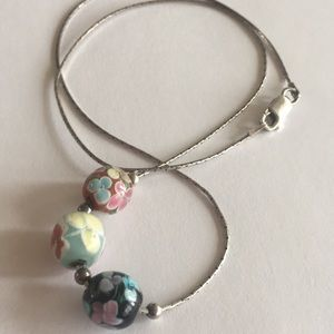 Sterling silver 925 chain murano glass beaded